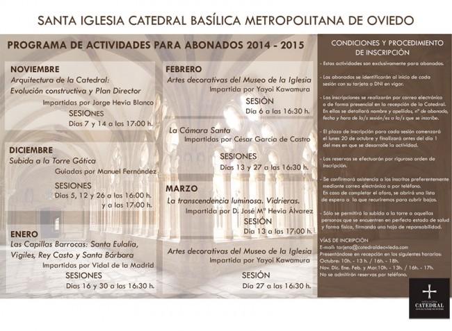 Programa de Actividades 2014 - 2015 Catedral de Oviedo