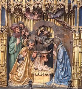 Escena del nacimiento de Cristo, retablo mayor de la Catedral de Oviedo.